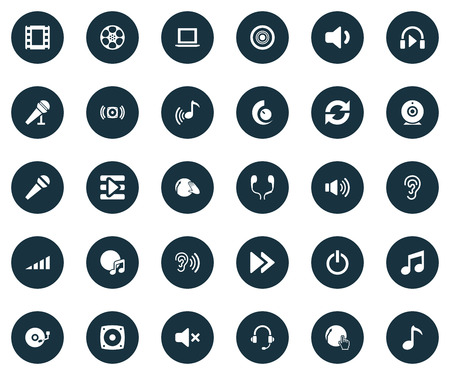 hotline: Elements Voice, Earmuff, Notebook And Other Synonyms Stereo, Rewind And Tape.  Vector Illustration Set Of Simple Play Icons.