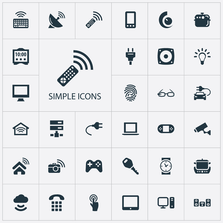 Elements Internet Of Things, Electric Stove, Spectacles And Other Synonyms Buttons, Wireless And Camera.  Vector Illustration Set Of Simple Device Icons.