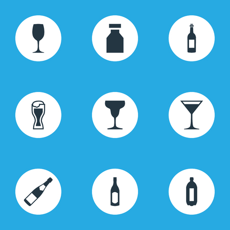 Elements Cosmopolitan, Gin, Glassware And Other Synonyms Liquor, Pub And Bottle.  Vector Illustration Set Of Simple Drinks Icons.
