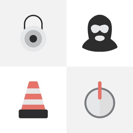 Elements Safe, Lock, Criminal And Other Synonyms Criminal, Burglar And Lock.  Vector Illustration Set Of Simple Crime Icons. Illustration