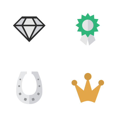 Elements Corona, Metal, Diamond And Other Synonyms Shoe, Horseshoe And Coronet.  Vector Illustration Set Of Simple Trophy Icons.