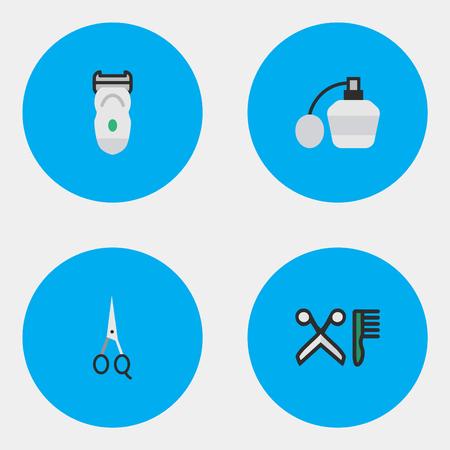 Elementen kam, schaar, elektronische en andere synoniemen Clippers, elektronische en kam. Vectorillustratiereeks Eenvoudige Kapperpictogrammen. Stock Illustratie