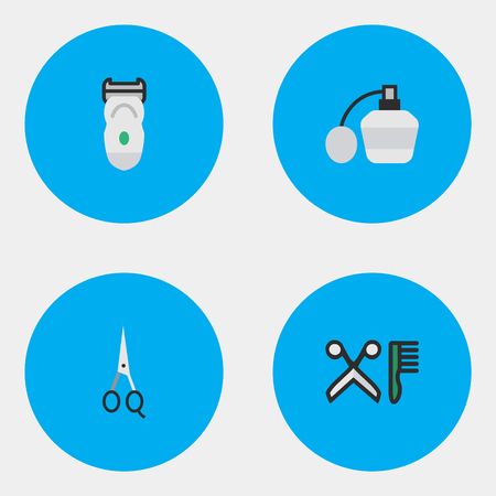 Elements Comb, Scissors, Electronic And Other Synonyms Clippers, Electronic And Comb.  Vector Illustration Set Of Simple Barber Icons.