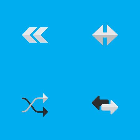 요소 뒤, Chaotically, 표시기 및 기타 동의어 리어, 뒤로 및 Chaotically. 벡터 일러스트 레이 션 간단한 포인터 아이콘의 집합입니다.