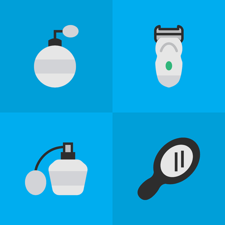 Elements Glass, Electronic, Fragrance And Other Synonyms Glass, Bottle And Electronic.  Vector Illustration Set Of Simple Hairdresser Icons.