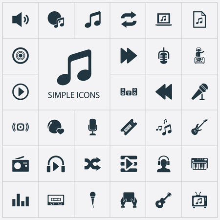 Elements Amplifier, Random, File Synonyms Backward, Left And Bass.  Vector Illustration Set Of Simple Music Icons.