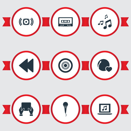 Elements Loudspeaker, Backwards, Shellac And Other Synonyms Tablet, Volume And Compact.  Vector Illustration Set Of Simple Melody Icons.