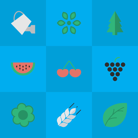 Elements Berry, Wine, Sheet And Other Synonyms Blossom, Paper And Wineglass.  Vector Illustration Set Of Simple Gardening Icons.