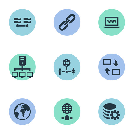 Elements Networking, Website, Database And Other Synonyms Internet, Hyperlink And Computer.  Vector Illustration Set Of Simple Web Icons.
