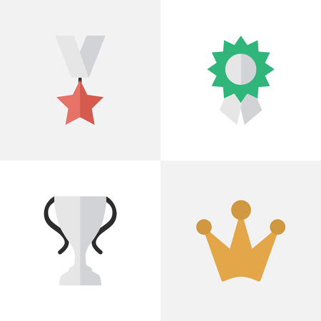 Elements Reward, Trophy, Champion And Other Synonyms Trophy, Medal And Reward.  Vector Illustration Set Of Simple Reward Icons. Illustration
