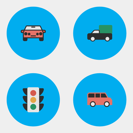 Elements Auto, Family, Pickup And Other Synonyms Garage, Auto And Lights.  Vector Illustration Set Of Simple Shipping Icons.
