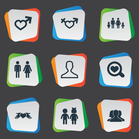 Elements Gentleman, Lineage, Double And Other Synonyms Divorce, Male And Bisexual.  Vector Illustration Set Of Simple  Icons.