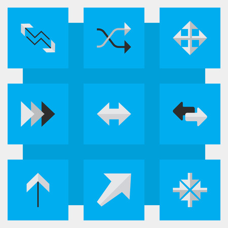 inwardly: Elements Import, Widen, Southwestward And Other Synonyms Direction, Chaotically And Boom.  Vector Illustration Set Of Simple Cursor Icons.