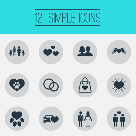 Elements Lovers, Care, Bright And Other Synonyms Wedding, Paw And Groom.  Vector Illustration Set Of Simple Wedding Icons.