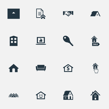 Elements Choose, Construction, Settee And Other Synonyms Pointer, Barn And Database.  Vector Illustration Set Of Simple Property Icons.