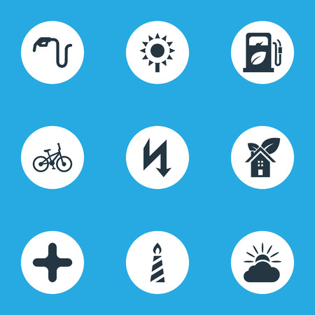 Elements Velocipede, Benzine, Weather And Other Synonyms Forecast, Gas And Sunflower.  Vector Illustration Set Of Simple Energy Icons. Illustration