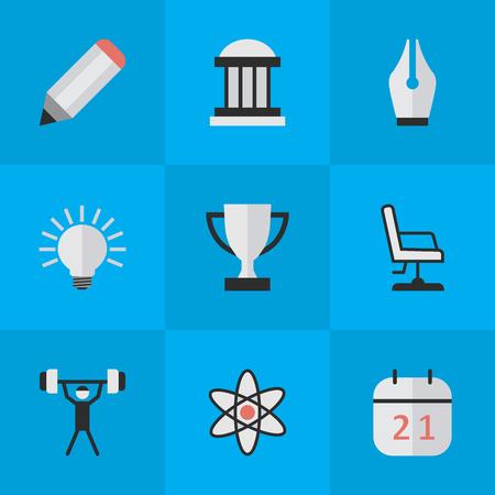 요소 대학, 분자, 전구 및 기타 동의어 무게, 의자 및 좌석. 벡터 일러스트 레이 션 간단한 교육 아이콘의 집합입니다.
