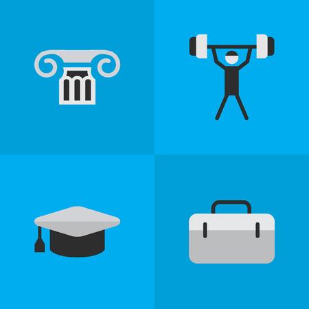Elementen bodybuilding, kolom, werkmap en andere academische synoniemen, afstuderen en koffer. Vectorillustratiereeks Eenvoudige Onderwijspictogrammen.