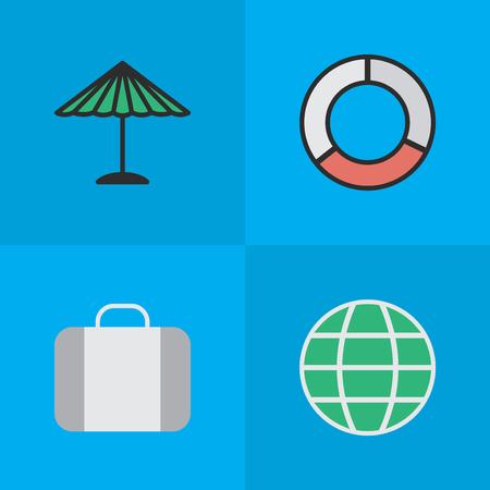 Elemente Tasche, Sea Rescue, Welt und andere Synonyme Rettungsring, Koffer und Regenschirm. Vektor-Illustrations-Satz einfache entspannen sich Ikonen. Standard-Bild - 83338630