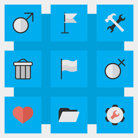 Elements Banner, Settings, Female And Other Synonyms Man, Junk And Settings.  Vector Illustration Set Of Simple Interface Icons. Çizim