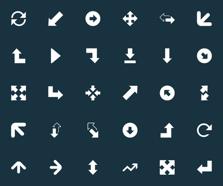 Elements Circular, Within, Advancement And Other Synonyms Outward, Down Left Pointing And Downward.  Vector Illustration Set Of Simple Arrows Icons.