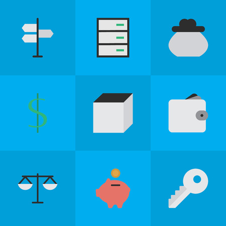 Elements Dollar, Wallet, Opening And Other Synonyms Key, Square And Chest.  Vector Illustration Set Of Simple Job Icons. Illustration