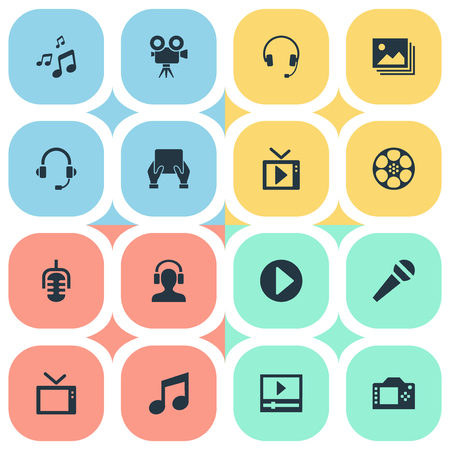 Elements Crotchets, Earmuff, Telly And Other Synonyms Hand, Microphone And Earmuff.  Vector Illustration Set Of Simple  Icons.