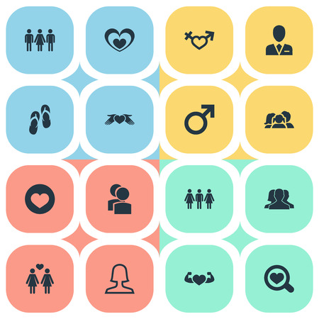 Elements Transgender, Alternative, Candidate Synonyms Sandal, Lesbian And Friends.  Vector Illustration Set Of Simple Lovers Icons. Illustration