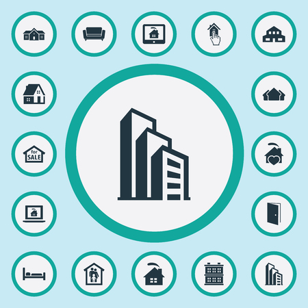 Elements Open Door, Real Estate Database, Structure And Other Synonyms Structure, Residential And Laptop.  Vector Illustration Set Of Simple Real Icons.