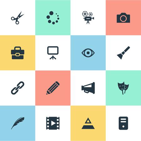 Elements Chain, Hand Lantern, Photography Synonyms Handbag, Pyramid And Flashlight.  Vector Illustration Set Of Simple Icon Icons.