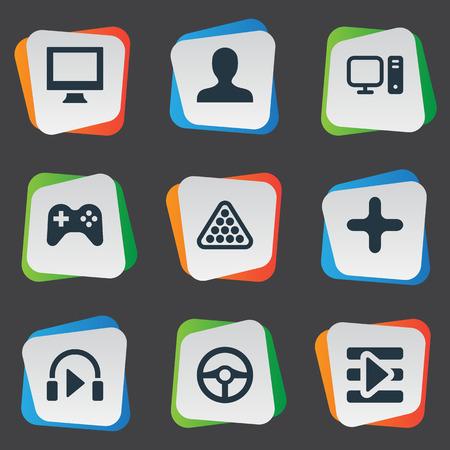 Elements Sound, Monitor, Joystick And Other Synoniemen Scherm, Avatar en Controller. Vector illustratie Set van eenvoudige pictogrammen van de vrije tijd.