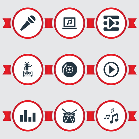 Elements Begin Button, Playboy, Laptop And Other Synonyms Controller, Playboy And Start.  Vector Illustration Set Of Simple Sound Icons.