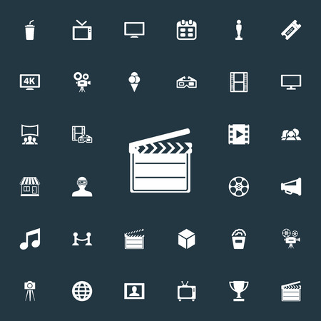 Elements High Resolution, Date, Cardboard And Other Synonyms Worldwide, Camera And Layout.  Vector Illustration Set Of Simple Movie Icons. Ilustração