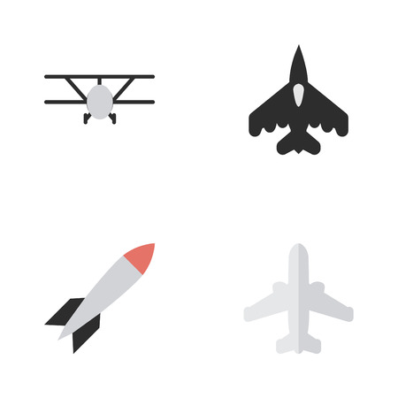 Elements Bomb, Airplane, Flying Vehicle And Other Synonyms Craft, Vehicle And Plane.  Vector Illustration Set Of Simple Airplane Icons. Illustration