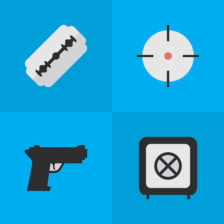 Elements Blade, Weapon, Vault And Other Synonyms Shot, Shaver And Target.  Vector Illustration Set Of Simple Criminal Icons. Illustration