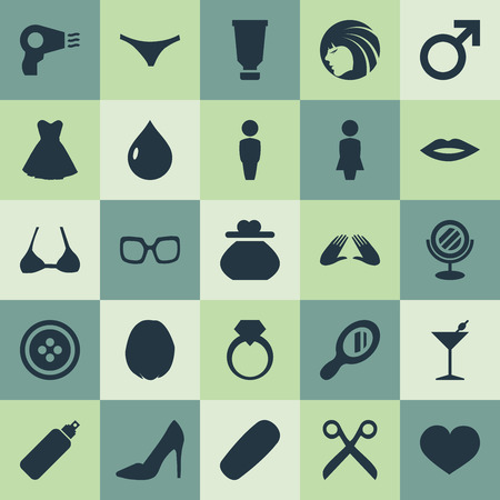 Elements Heirdressing, Mars Sign, Moisturizer And Other Synonyms Body, Glasses And Hair.  Vector Illustration Set Of Simple Elegance Icons. Ilustração