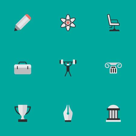 요소 잔, 펜, 대학 및 기타 동의어 잔, 박물관 및 핵. 벡터 일러스트 레이 션 간단한 교육 아이콘의 집합입니다.