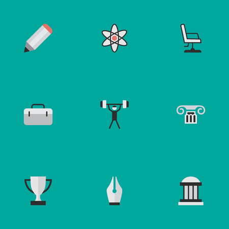 Elements Goblet, Pen, University And Other Synonyms Goblet, Museum And Nuclear.  Vector Illustration Set Of Simple Education Icons. Illustration