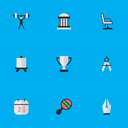 Elements Date Block, Easel, University And Other Synonyms Ink, Nib And Date.  Vector Illustration Set Of Simple Education Icons.