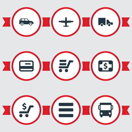 Elementen Dollar, Web Trading, Lijst en andere synoniemen Debet, prijs en lijst. Vector illustratie Set van eenvoudige karting iconen.