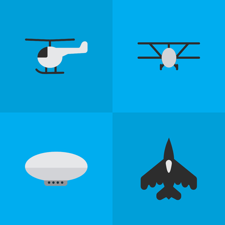 Elements Balloons, Copter, Airplane And Other Synonyms Airship, Aviation And Helicopter.  Vector Illustration Set Of Simple Airplane Icons.
