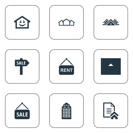 Elements Lease Information, Smiley Casa, Eco-Homes And Other Synonyms Home, Happy And Skyscraper.  Vector Illustration Set Of Simple Real Icons.