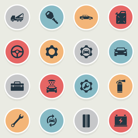 Elements Steering Wheel, Diesel, Fixing And Other Synonyms Workshop, Fire And Extinguisher.  Vector Illustration Set Of Simple Vehicle Icons. Illustration