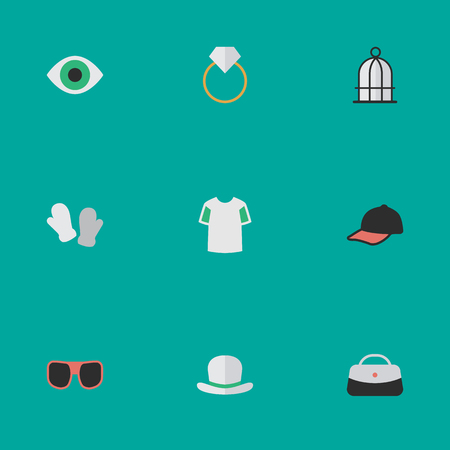 Elements Jersey, Headgear, Eye Accessory And Other Synonyms Prison, Jersey And Engagement.  Vector Illustration Set Of Simple Equipment Icons.