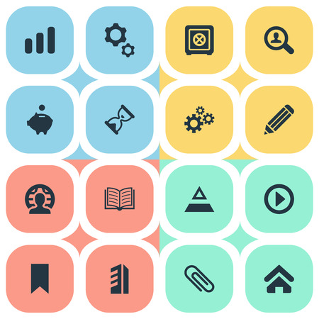 Elements Piggy Bank, Magazine, Begin And Other Synonyms Saving, Pennant And Journal.  Vector Illustration Set Of Simple Teamwork Icons.