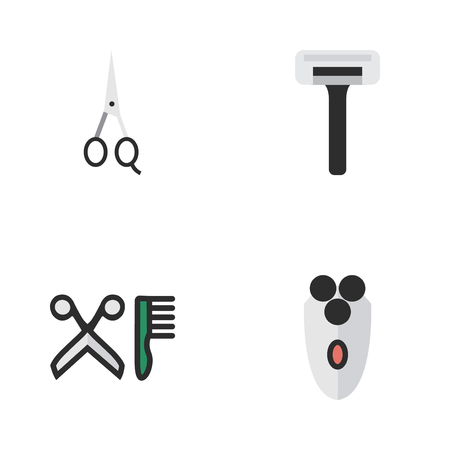 Elements Shaving Machine, Comb, Scissors And Other Synonyms Clippers, Scissors And Shear.  Vector Illustration Set Of Simple Shop Icons. Çizim