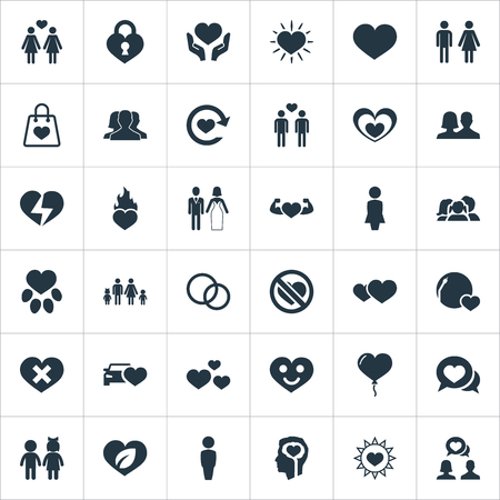 Elements Dialogue, Heart Lock, Decoration And Other Synonyms Chatting, Happy And Leaf.  Vector Illustration Set Of Simple Love Icons.