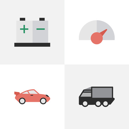 요소 속도, 쿠페, 트럭 및 기타 동의어 배터리, 카운터 및 속도. 벡터 일러스트 레이 션 간단한 교통 아이콘의 집합입니다.