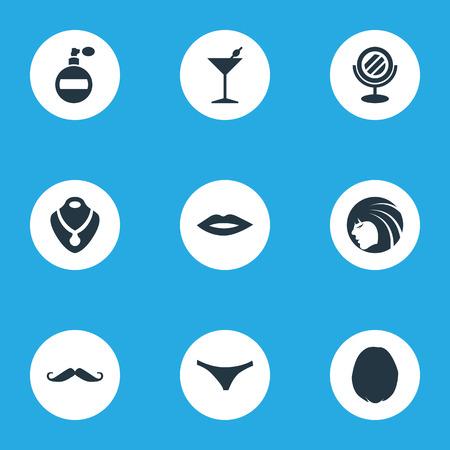 Elementen ondergoed, heirdressing, cocktail en andere synoniemenharen, fles en snorren. Vectorillustratiereeks Eenvoudige Elegantiepictogrammen. Stock Illustratie