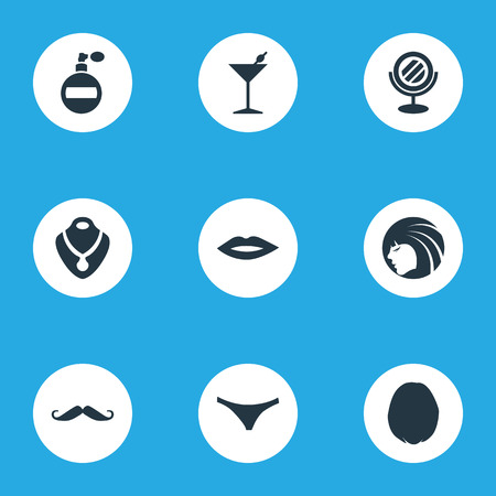 Elements Underwear, Heirdressing, Cocktail And Other Synonyms Hairs, Bottle And Mustaches.  Vector Illustration Set Of Simple Elegance Icons.